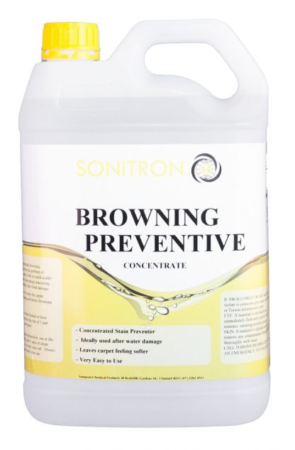 White bottle with yellow design black text - Browning preventive sonitron chemicals - glocally mine