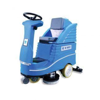 Cleanvac blue ride on hard floor scrubber